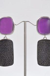 Boucles d'oreilles art déco violet