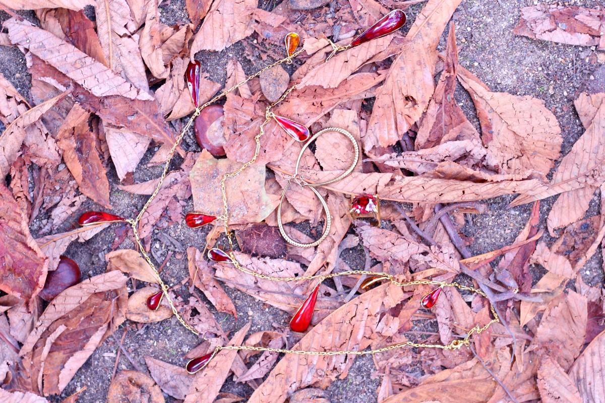 bijoux automne rouge or